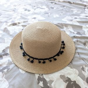Straw Hat with Trimming